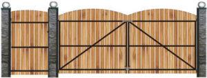 схема установки деревянных ворот